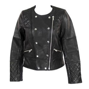J Crew Collection Quilted Leather Motorcycle Black